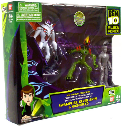 Alien Force Ben 10 Figure Collection Swampfire, Kevin Levin & Highbreed Exclusive Action Figure 3-Pack