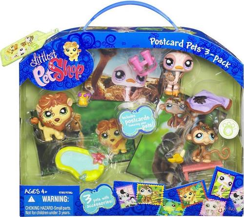 Littlest Pet Shop Postcard Pets Ostrich, Lion & Monkey Figure 3-Pack