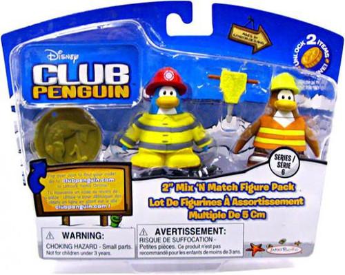 Club Penguin Mix 'N Match Series 6 Firefighter & Construction Worker Mini Figure Set