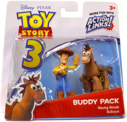 Toy Story 3 Action Links Buddy Pack Waving Woody & Bullseye Mini Figure 2-Pack
