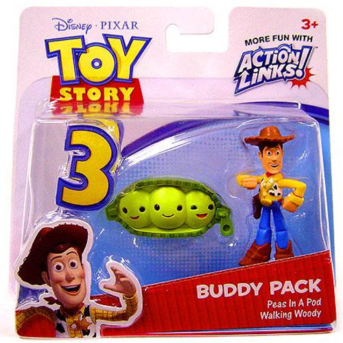 Toy Story 3 Action Links Buddy Pack Walking Woody & Peas In A Pod Mini Figure 2-Pack