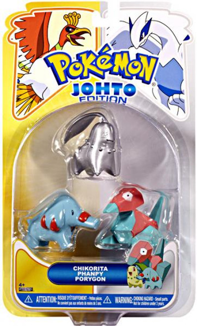 Pokemon Johto Edition Series 17 Silver Chikorita, Phanpy & Porygon Figure 3-Pack