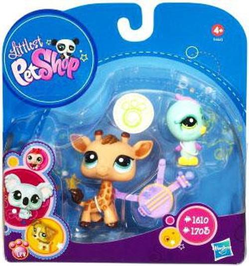 Littlest Pet Shop 2010 Assortment B Series 5 Giraffe & Bird Figure 2-Pack #1610, 1703