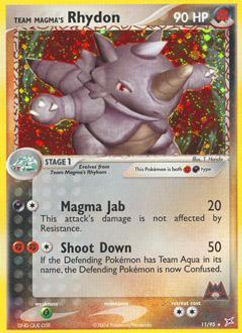 Pokemon EX Team Magma vs Team Aqua Rare Holo Team Magma's Rhydon #11