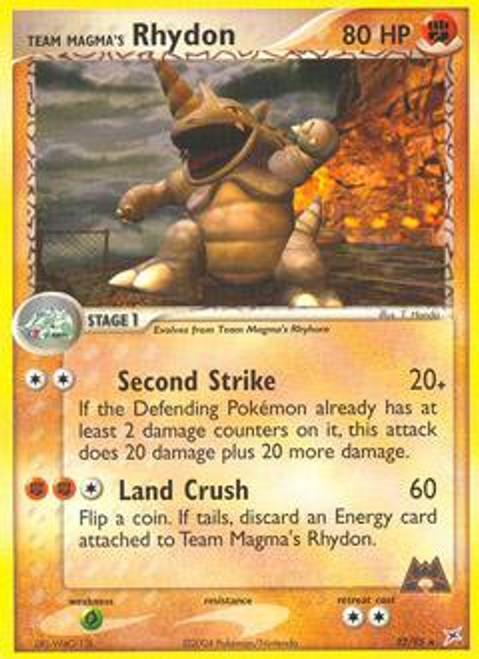 Pokemon EX Team Magma vs Team Aqua Rare Team Magma's Rhydon #22