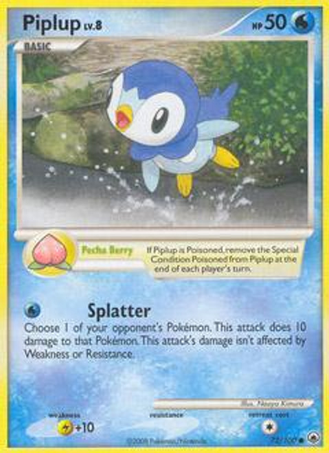 Pokemon Diamond & Pearl Majestic Dawn Common Piplup #72