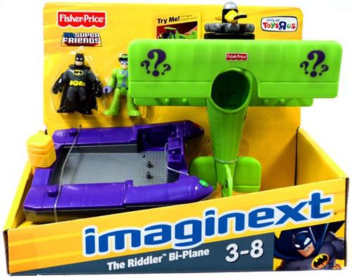 Fisher Price DC Super Friends Batman Imaginext The Riddler Bi-Plane Exclusive 3-Inch Figure Set