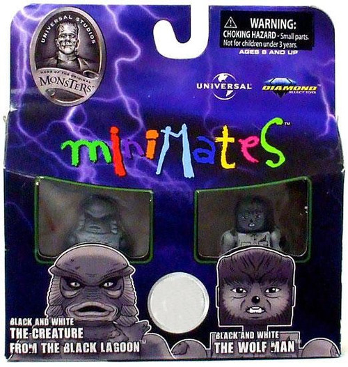 Universal Monsters MiniMates The Creature & The Wolfman Exclusive Minifigure 2-Pack [Black & White]