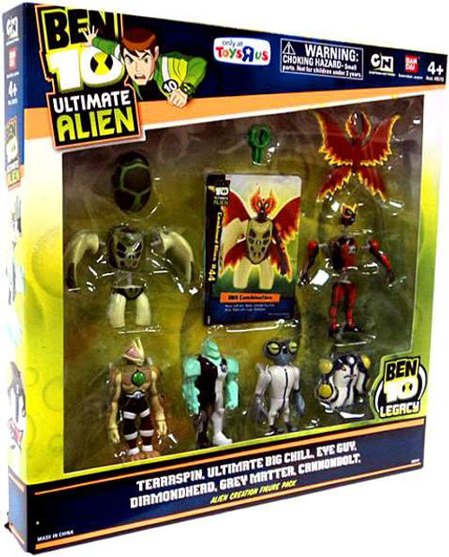 Ben 10 Ultimate Alien Terraspin, Ultimate Big Chill, Eye Guy, Diamondhead, Grey Matter & Cannonbolt Exclusive Mini Figure 6-Pack