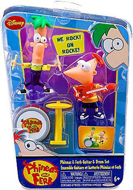 Disney Phineas and Ferb Phineas & Ferb Guitar & Drum Action Figure 2-Pack