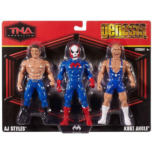 TNA Wrestling Genesis AJ Styles, Suicide & Kurt Angle Action Figure 3-Pack