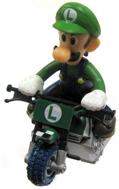 Super Mario Mario Kart Gacha Luigi on Bike 1 1/2-Inch Pull Back Racer
