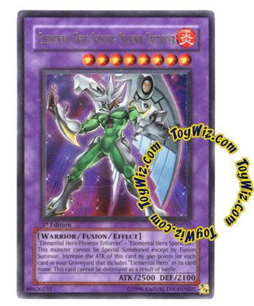 YuGiOh GX Enemy of Justice Ultra Rare Elemental Hero Shining Phoenix Enforcer EOJ-EN033