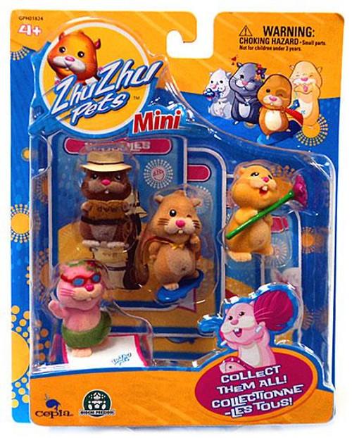 Zhu Zhu Pets Scoodles, Mr. Squiggles, Nugget & Jilly Mini Figure 4-Pack