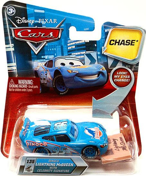 Disney Cars Lenticular Eyes Series 2 Dinoco Lightning Mcqueen with Celebrity Signature Diecast Car