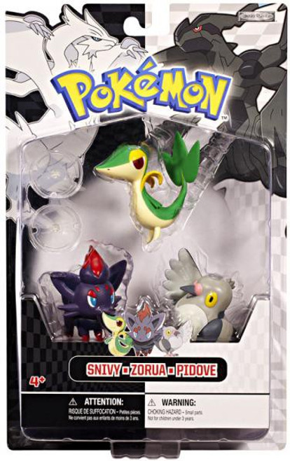 Pokemon Black & White Series 1 Basic Snivy, Zorua & Pidove Figure 3-Pack
