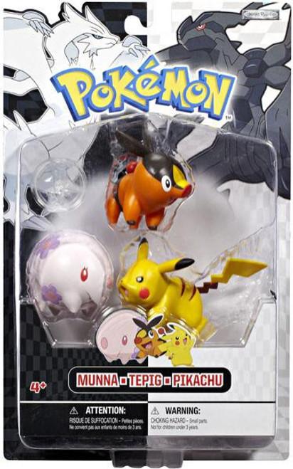 Pokemon Black & White Series 1 Basic Munna, Tepig & Pikachu Figure 3-Pack