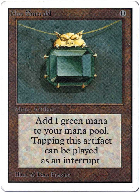 MtG Unlimited Rare Mox Emerald [Slightly Played Condition]