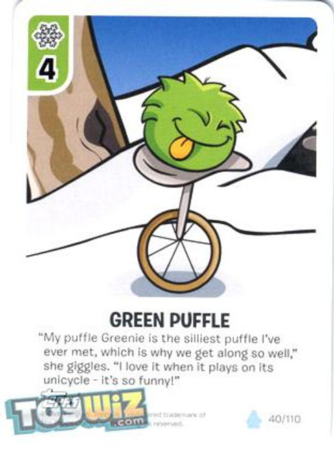 Club Penguin Card-Jitsu Basic Series 1 Common Green Puffle #40
