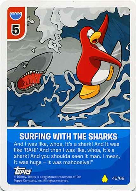 Club Penguin Card-Jitsu Basic Series 2 Common Surfing with the Sharks #45