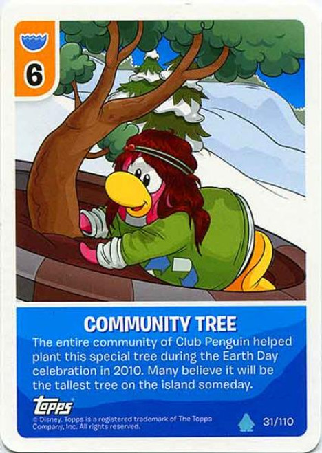Club Penguin Card-Jitsu Water Series 4 Common Community Tree #31