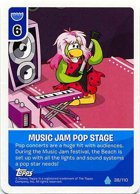 Club Penguin Card-Jitsu Water Series 4 Common Music Jam Pop Stage #38
