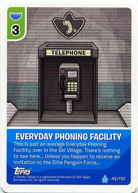 Club Penguin Card-Jitsu Water Series 4 Common Everyday Phoning Facility #42