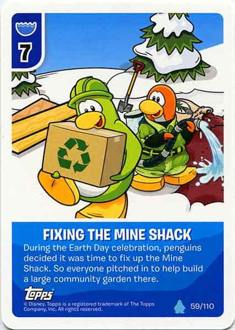 Club Penguin Card-Jitsu Water Series 4 Common Fixing The Mine Shack #59