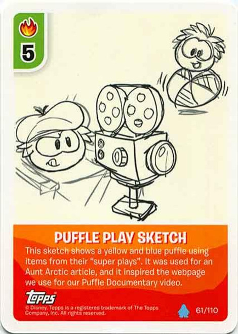 Club Penguin Card-Jitsu Water Series 4 Common Puffle Play Sketch #61