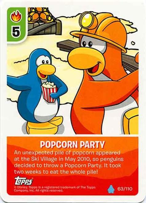 Club Penguin Card-Jitsu Water Series 4 Common Popcorn Party #63