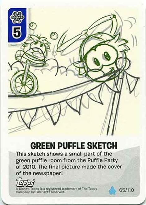 Club Penguin Card-Jitsu Water Series 4 Common Green Puffle Sketch #65