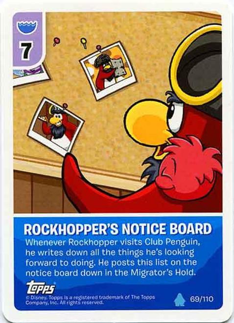 Club Penguin Card-Jitsu Water Series 4 Common Rockhopper's Notice Board #69