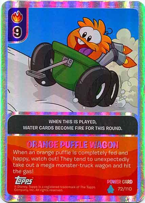 Club Penguin Card-Jitsu Water Series 4 Foil Power Card Orange Puffle Wagon #72