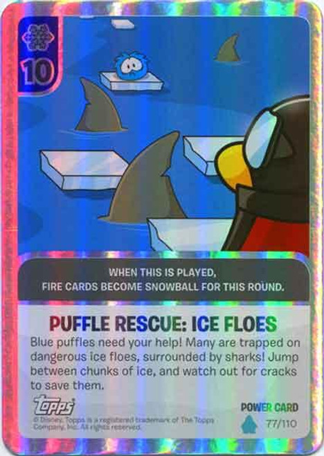 Club Penguin Card-Jitsu Water Series 4 Foil Power Card Puffle Rescue:Ice Floes #77