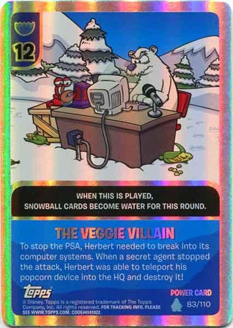 Club Penguin Card-Jitsu Water Series 4 Foil Power Card The Veggie Villain #83