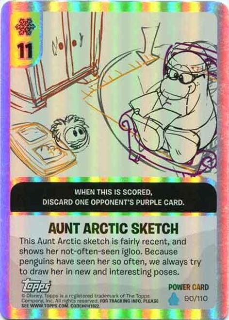 Club Penguin Card-Jitsu Water Series 4 Foil Power Card Aunt Arctic Sketch #90