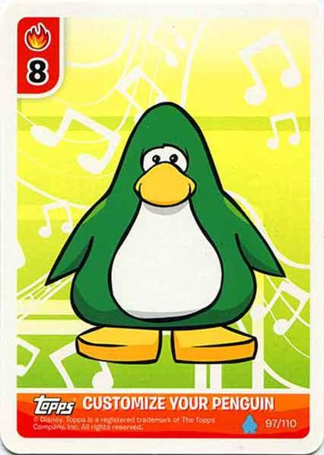 Club Penguin Card-Jitsu Water Series 4 Customize Your Penguin Green Musical - Light Blue Penguin #97