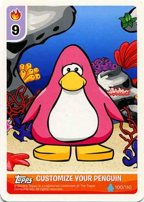 Club Penguin Card-Jitsu Water Series 4 Customize Your Penguin Underwater - Pink Penguin #100