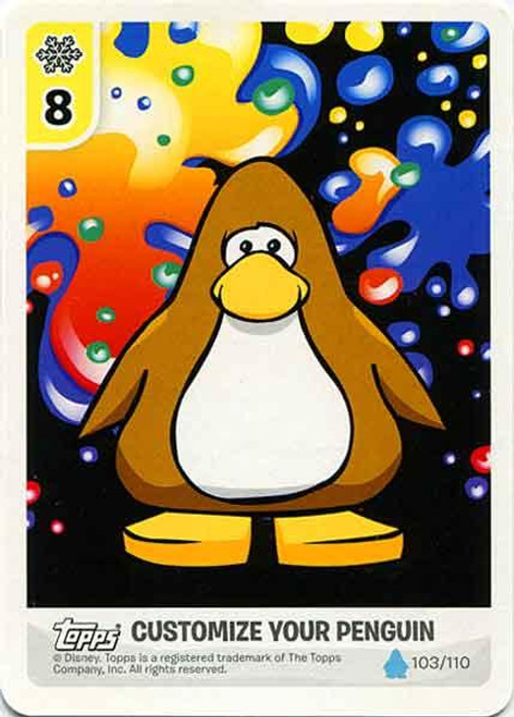 Club Penguin Card-Jitsu Water Series 4 Customize Your Penguin Art - Brown Penguin #103