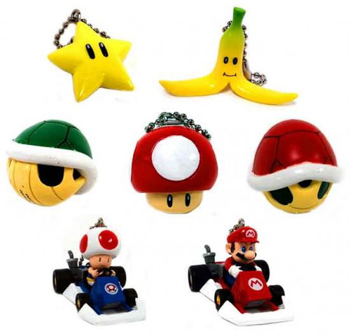 Super Mario Mario Kart DS Set of 7 Micro Keychains