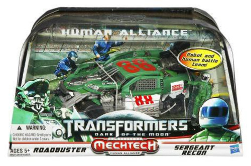 Transformers Dark of the Moon Mechtech Human Alliance Roadbuster with Sergeant Recon Action Figure Set