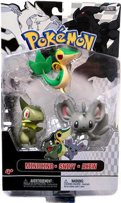 Pokemon Black & White Series 2 Basic Minccino, Snivy & Axew Figure 3-Pack