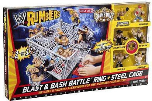 WWE Wrestling Rumblers Series 1 Blast & Bash Battle Ring & Steel Cage Exclusive Mini Figure Playset