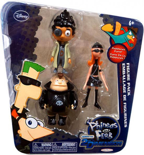 Disney Phineas and Ferb Across the 2nd Dimension Resistance Team Action Figure 3-Pack