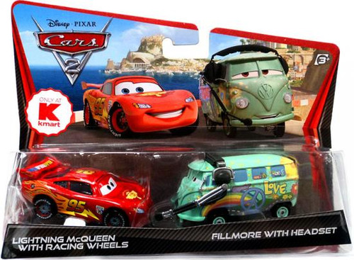 Disney Cars Cars 2 2-Packs Lightning McQueen with Racing Wheels & Fillmore with Headset Exclusive Diecast Car 2-Pack