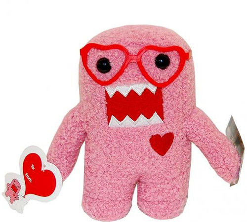 Valentine's Day Heart Glasses Domo 6.5-Inch Plush Figure [Pink]
