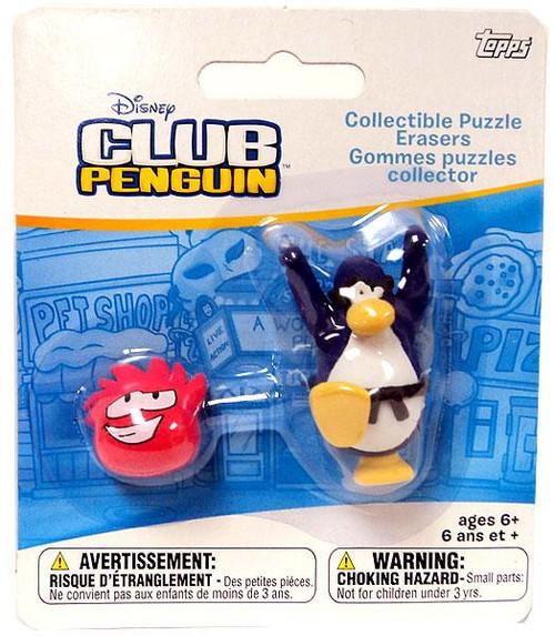 Club Penguin Collectible Puzzle Erasers Dark Blue Penguin & Random Puffle Eraser 2-Pack