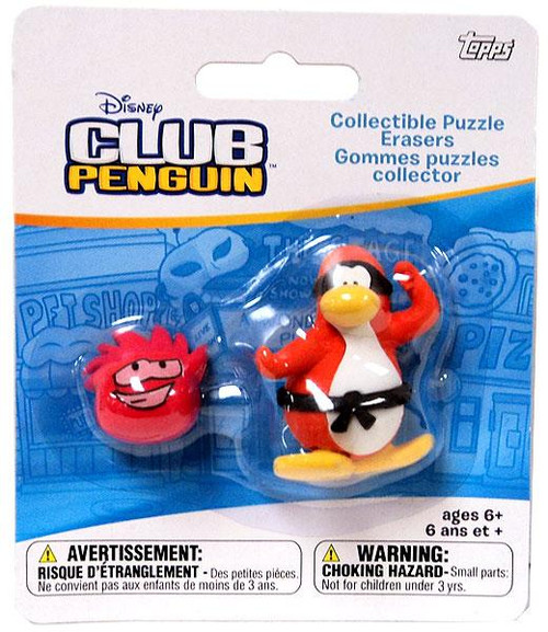 Club Penguin Collectible Puzzle Erasers Orange Penguin & Random Puffle Eraser 2-Pack