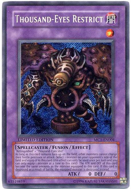 YuGiOh Master Collection 1 Secret Rare Thousand Eyes Restrict MC1-EN004