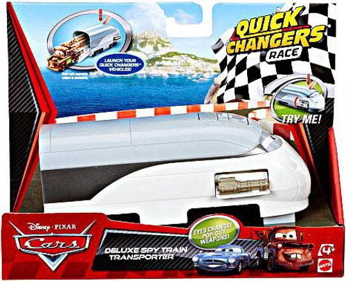 Disney Cars Cars 2 Quick Changers Race Deluxe Spy Train Transporter Diecast Car Playset